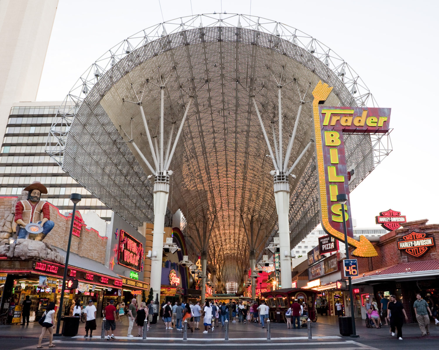 Tourists sight seeing on Fremont Street.