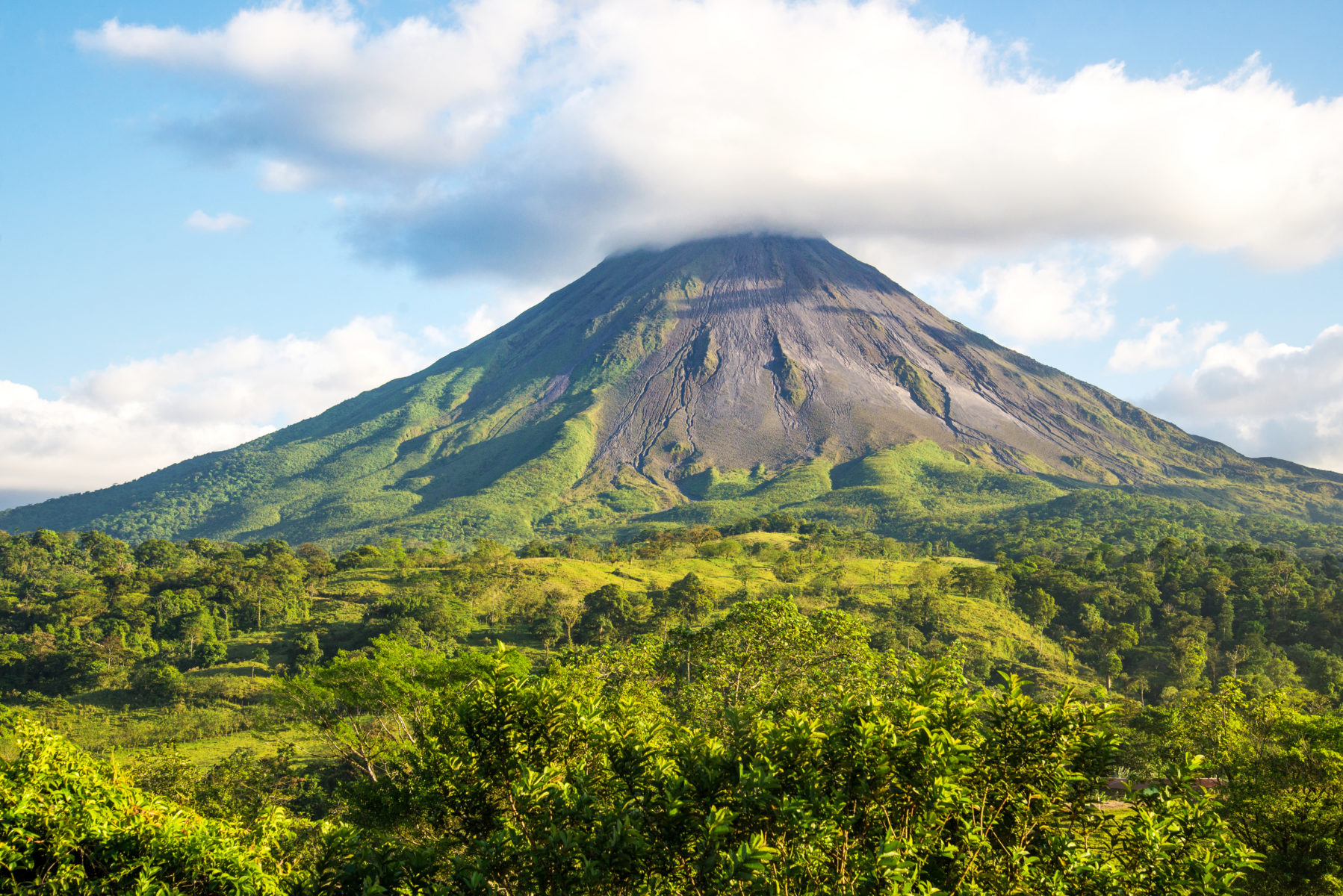 Arenal volcano landscape in a sunny day.