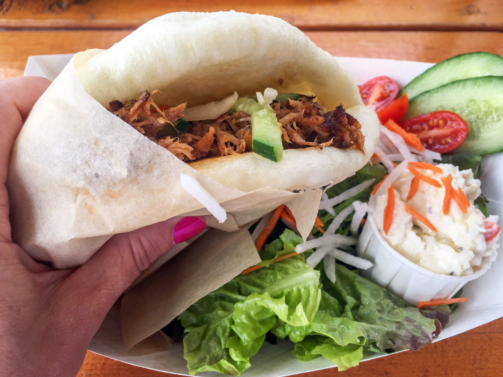 Steamed bun with smoked pulled pork from Kauai, Hawaii, food truck