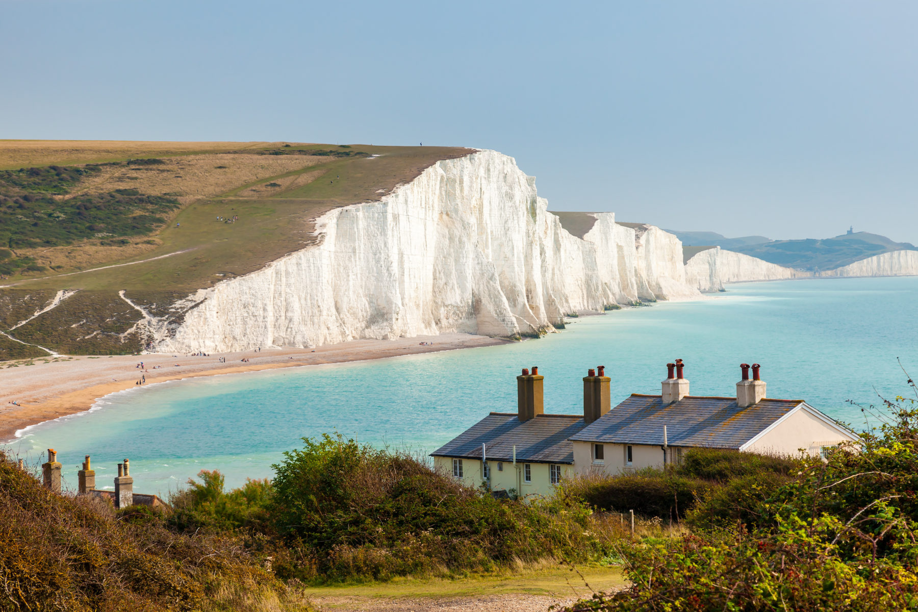 The Seven Sisters chalk cliffs in England