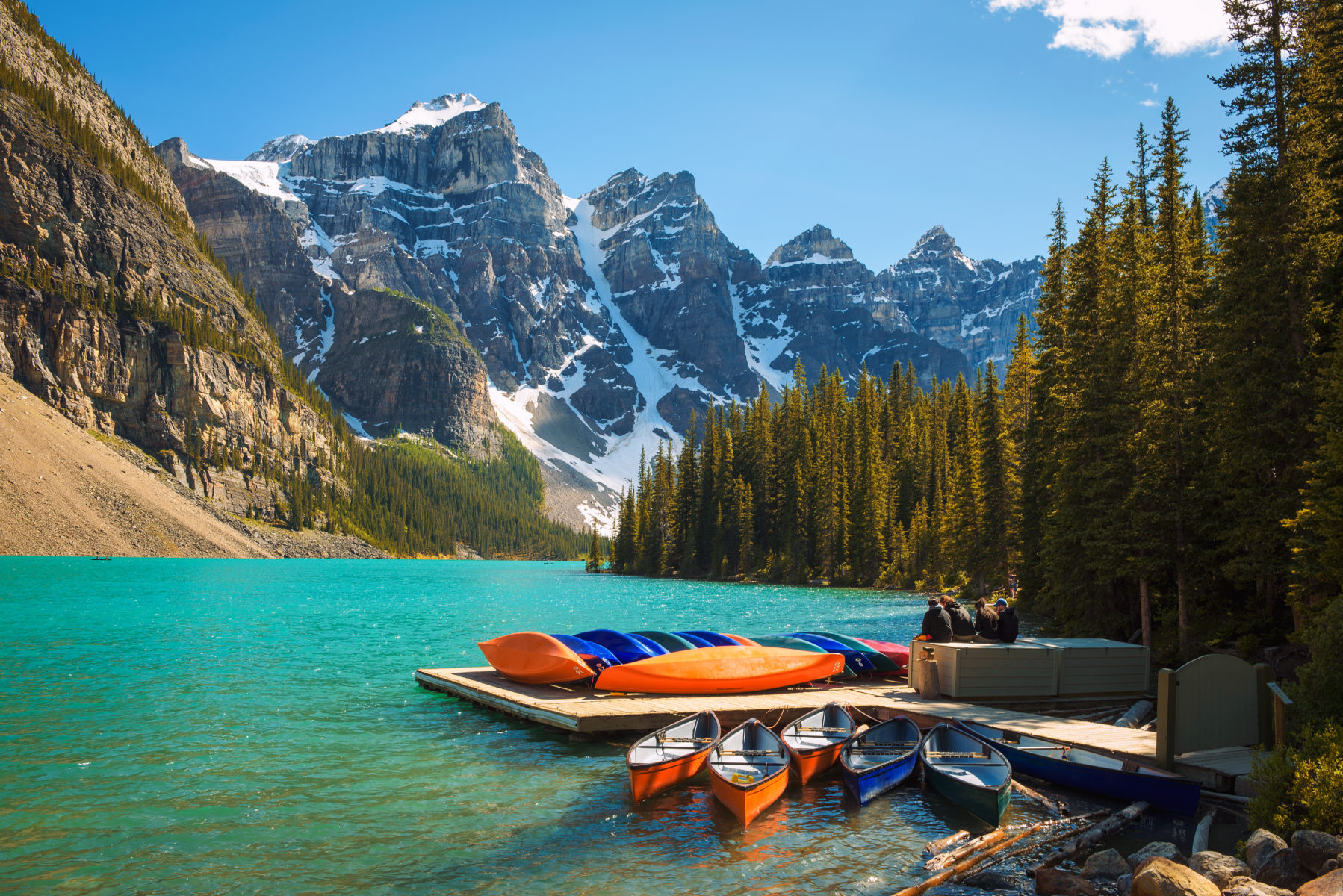Canoes at beautiful Moraine Lake in Banff National Park
