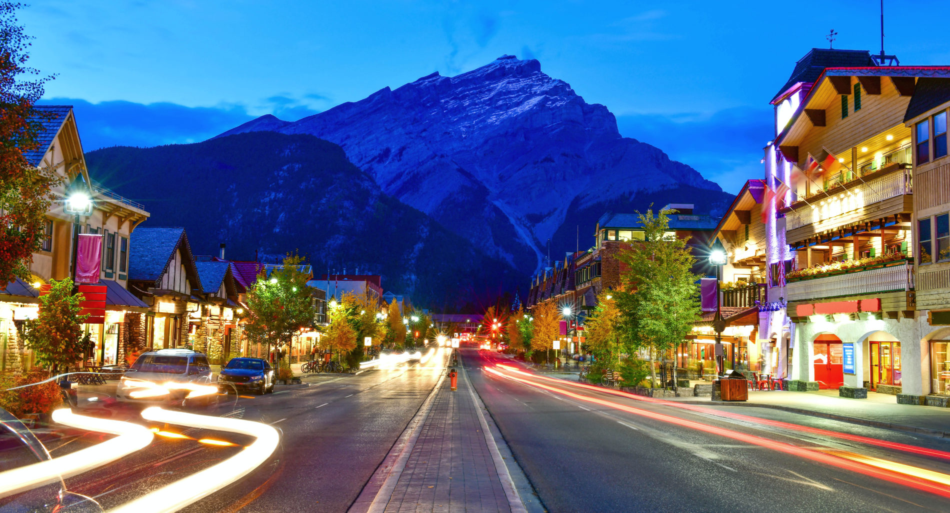 Banff Avenue at dusk