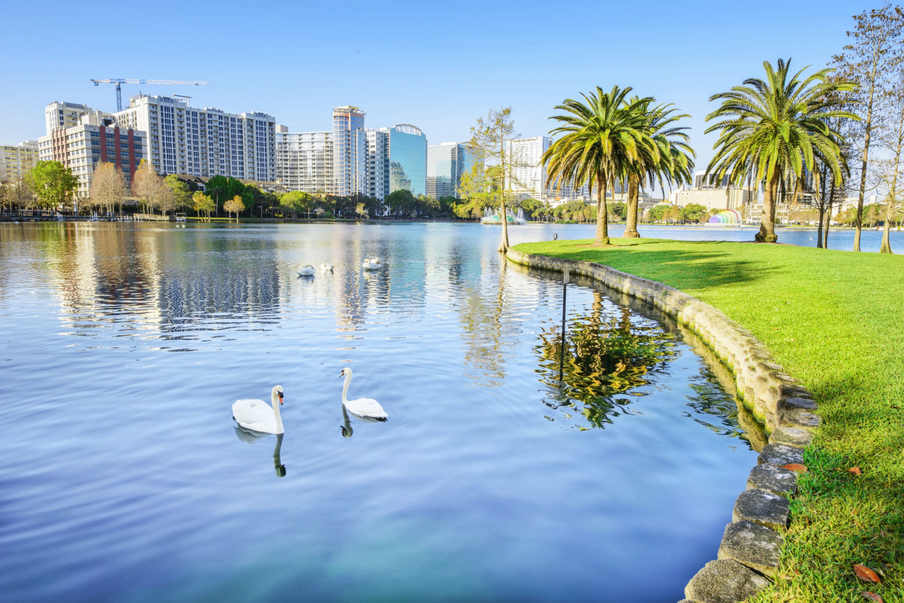 A beautiful day at Lake Eola Park in downtown Orlando