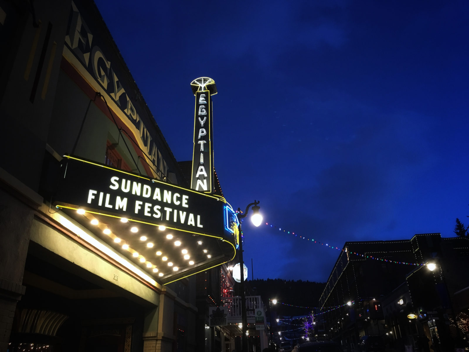 Illuminated marquee at the Sundance Film Festival