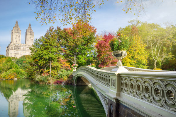 Romantic Bow Bridge in Central Park, New York City