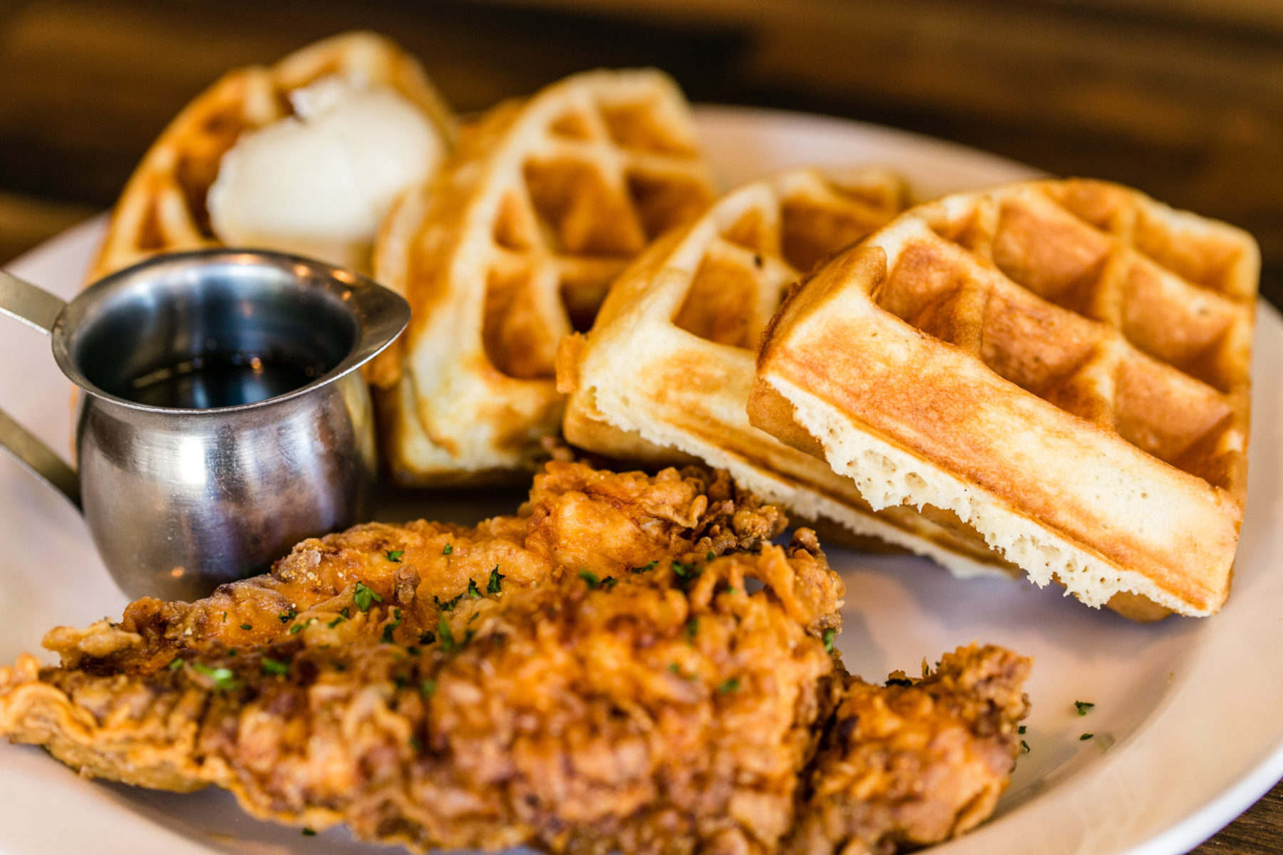 Savory chicken and waffles