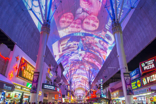 Fremont Street in Las Vegas Nevada at night