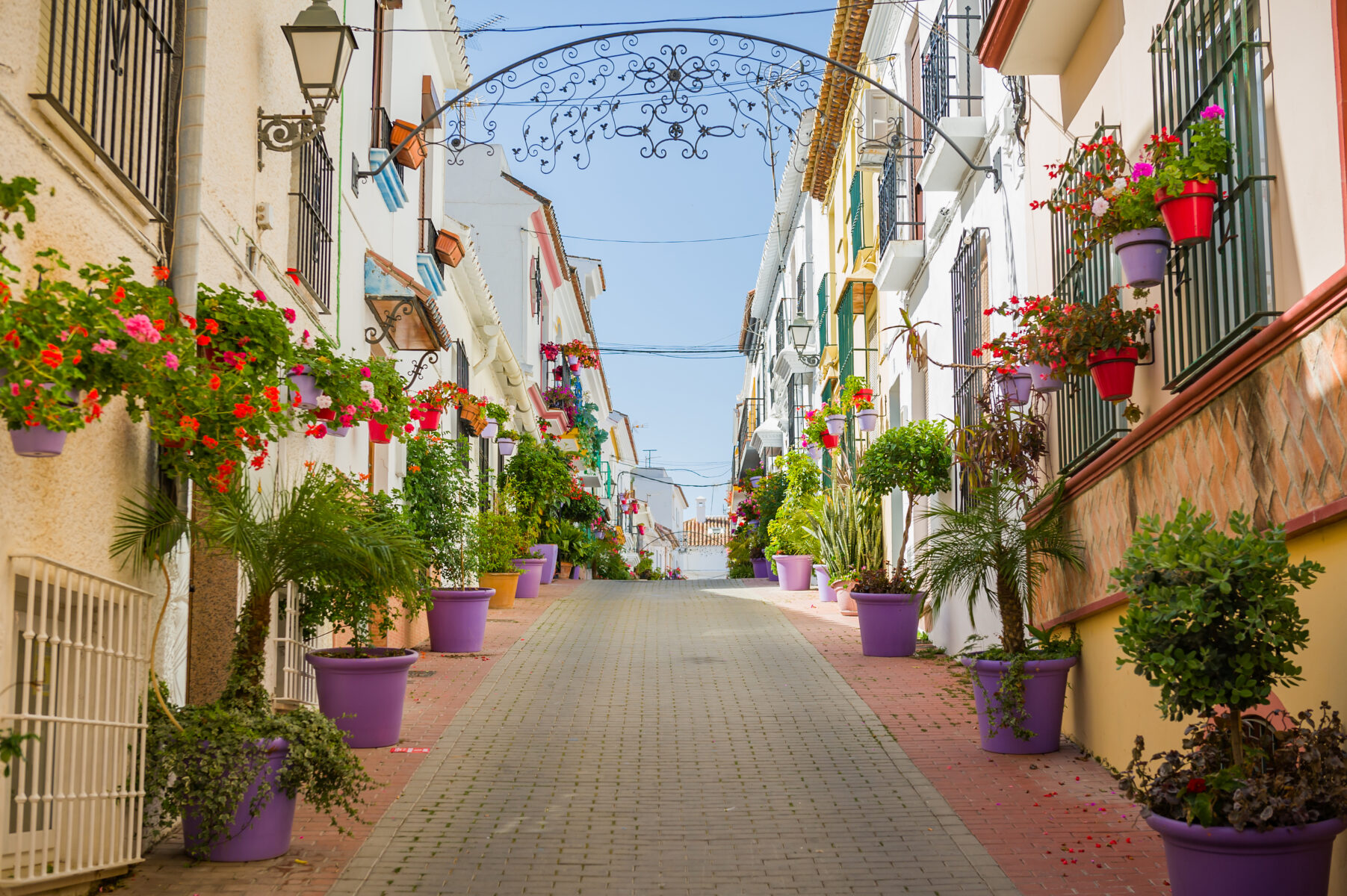 Picturesque apartments with flowers in Marbella, Spain